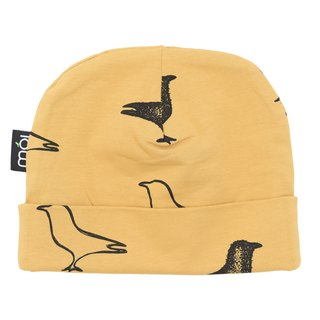 [Nordic children's clothing] Icelandic organic cotton can be folded back double-sided hat double-sided yellow