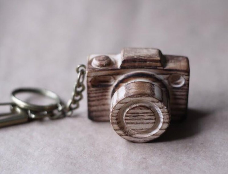 Handmade wooden miniature camera / coke key ring