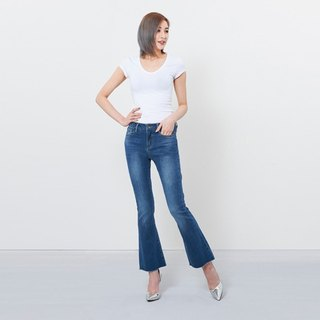 wbp-060-1 dark blue elastic mid-bellied flared pants
