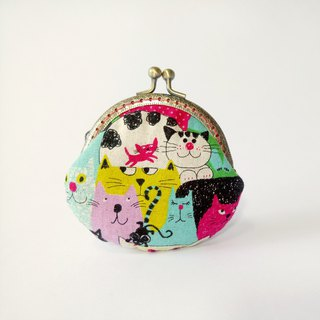 1987 Handmades [Meowing party] mouth gold bag purse clutch