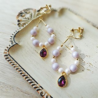 Amethyst Stone of Swarovski Earrings