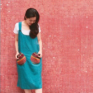 Sky blue cotton and linen pocket worker dress