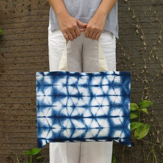 Everyday Natural Cotton Indigo Tote with Magnetic Clasp
