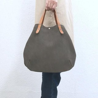 Round tote bag of cow suede and extremely thick oil nude S-size [Gray]