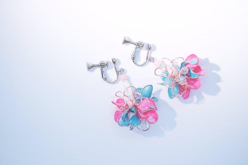 迷你小童花球 粉嫩 手作飾品耳環  一對