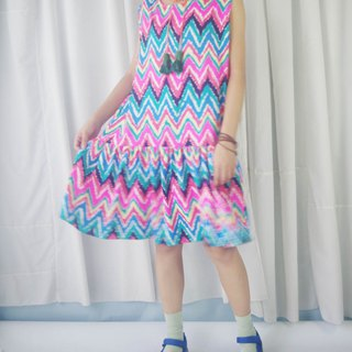 Design hand made - hippie colorful geometric print tassel leather rope sleeveless dress