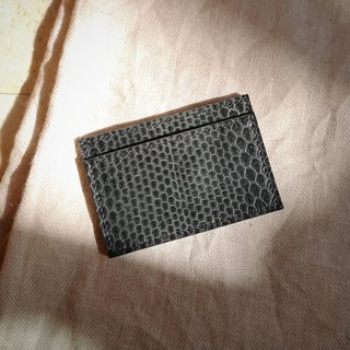 Genuine python card holder in dark green