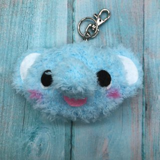 Elephant - chubby wool animal key ring charm