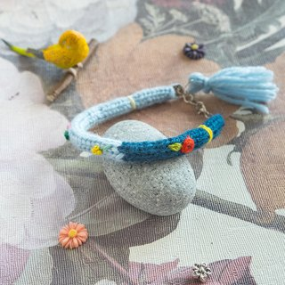 Handmade Mixed Color Wool Bracelet with embroidery flower