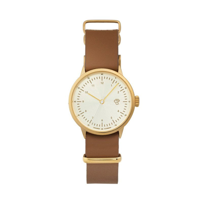 Harold Mini Gold Watch Honey Brown Leather Watch