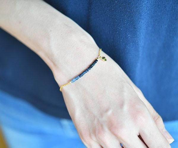 藍色藍寶石手鐲,提升魅力,勝利運氣,金錢運氣等9月誕生石14KGF版