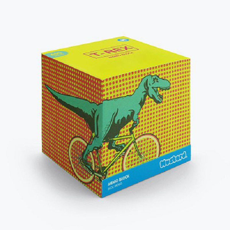 British Mustard Fun Sticky Notes - Tyrannosaurus BIKE