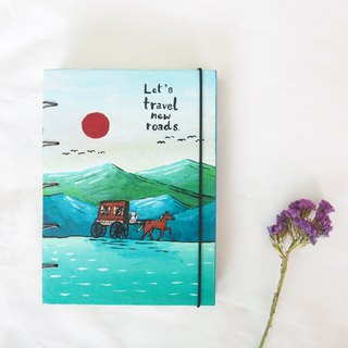 White cat travel around the world.,Notebook Painting  Handmadenotebook Diary 筆記本
