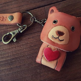 Cute Q bear pure leather key ring (made lover, birthday gift)