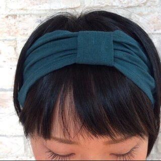 Linen  Headband :  Blue green