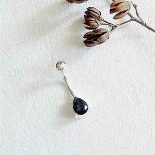 8mm pear-shaped glass/Blue/Water droplets/Belly ring/Sterling Silver/Swarovski Crystal/By hand【ZHÀO】SZBR1614