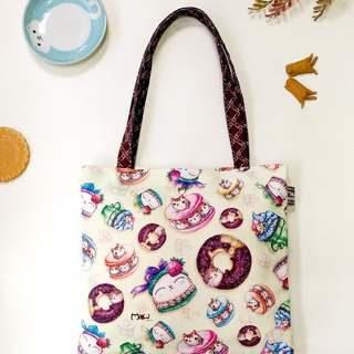 Good light small bag / shopping bag / lunch bag ● integrated dessert cat