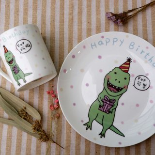 8 Skull Porcelain Plates - Playful Dinosaur Celebration Plates / Customized Items (in dialog box) / Microwave / SGS