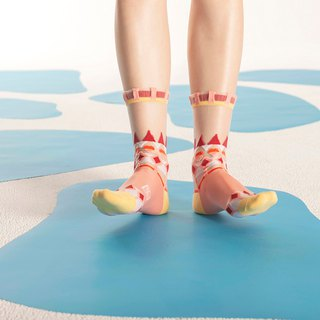 Lopi Sweater Salmon Sheer Socks | transparent see-through socks | colorful socks
