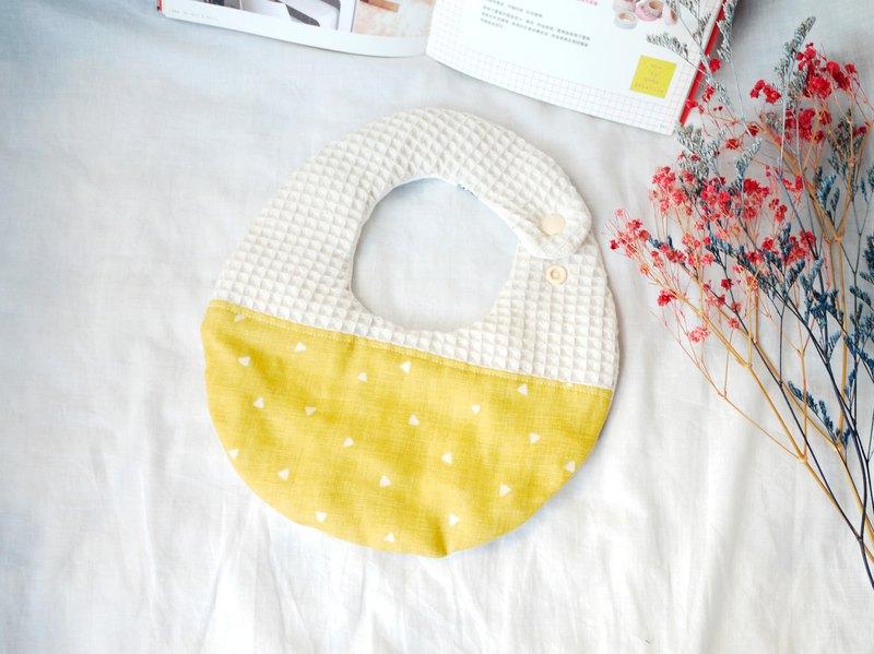 Hello baby系列。八重紗口水巾│圍兜:::黃色三角形