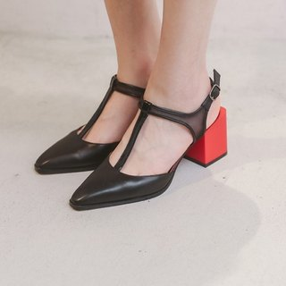 [Show products clear] 丅 word leather stitching gauze square with leather pointed shoes black with red