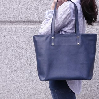 Simple leather tote bag - blue ink