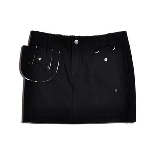 Mid-waist College Style Street Style Women Skirt Mini Solid Cotton 2 Detachable Pocket Skirt-black