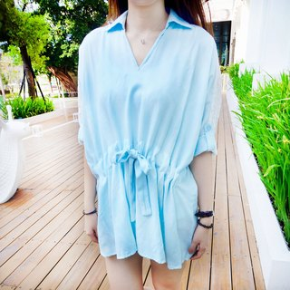Pretty Lace Slim Long bamboo shirt (light blue)