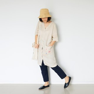 Vee Pocket Dress - Hand Embroidered Natural Linen