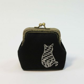 Embroidery 8.5cm gold coin purse 31 - cat gesture 05
