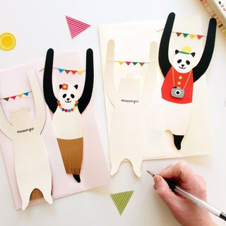 murmur message card set of two cards・Slacklycard panda