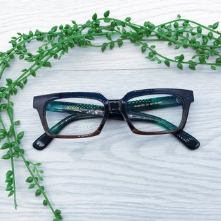 Brown Blue Square Eyeglasses eyeglass frame reading glasses Made in Japan