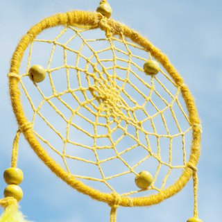 Limited hand-woven cotton and linen original dream catcher Boho wool line dream catcher - yellow lemon forest