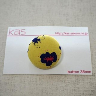 "Hand printed original covered button""flower""(large)"