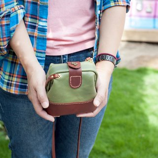 Be Two ∣ matcha green doctor bag/color interface gold bag/leather shoulder bag/side backpack