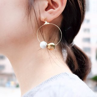 White Marble Pattern Concrete Bubble with Gold Gilded Bubble Circle Earrings