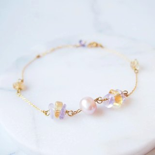 Anniewhere | Handmade natural stone jewelry | Citrine purple pearl bracelet / anklet
