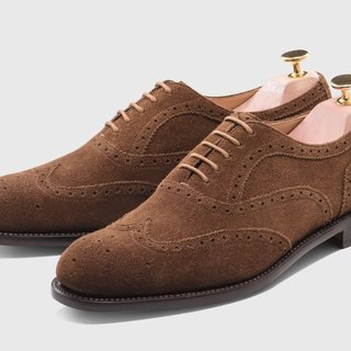 Suede brown full carved Oxford shoes Goodyear suture handmade