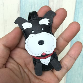 Leatherprince Handmade Leather Taiwan MIT Black Cute Schnauzer Handmade Leather Charm Small size