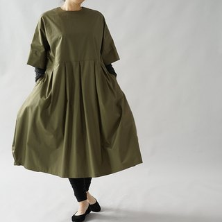 wafu  cotton dress / midi length / short sleeve / oversize / Khaki  a41-63