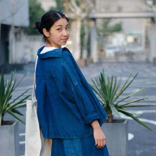 Boyfriend Fan Shirt | Indigo Natural Plant Hand Dyeing Plain Linen Drop Shoulder Loose Short Sleeve Shirt