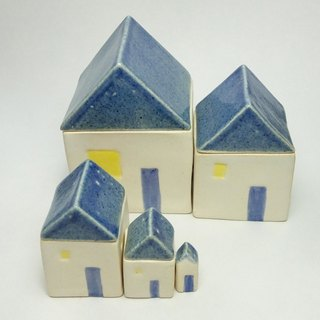 Material Selection - blue and white pottery hut box box