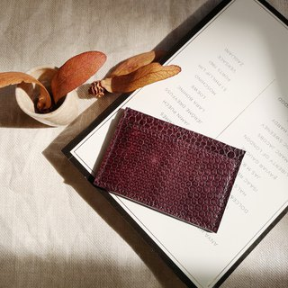 Genuine python card holder in dark burgundy