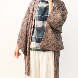 Vintage Japanese coffee brown and wind print vintage feather kimono jacket blouse cardigan Kimono