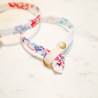 Cat Collars White & Red Flowers with hand print style, included bells