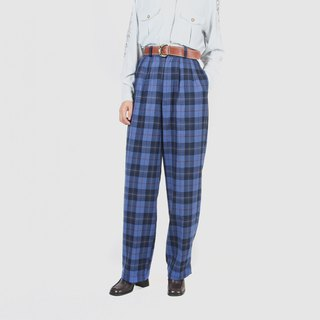[Egg plant vintage] cool sugar plaid wool wide version straight ancient trousers
