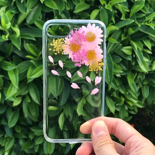 iPhone 7 Dry Pressed Flowers Case Pink Daisy Colourful Flower case 032
