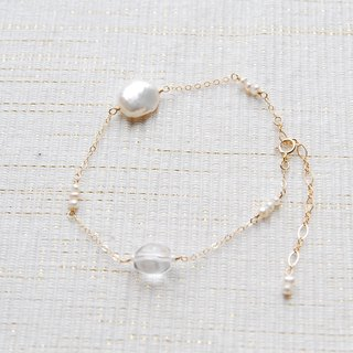 Various pearl and crystal bracelet 14 kgf