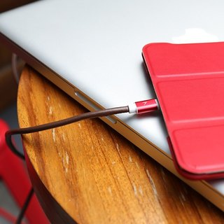 Optima Lightning leather charging cable red
