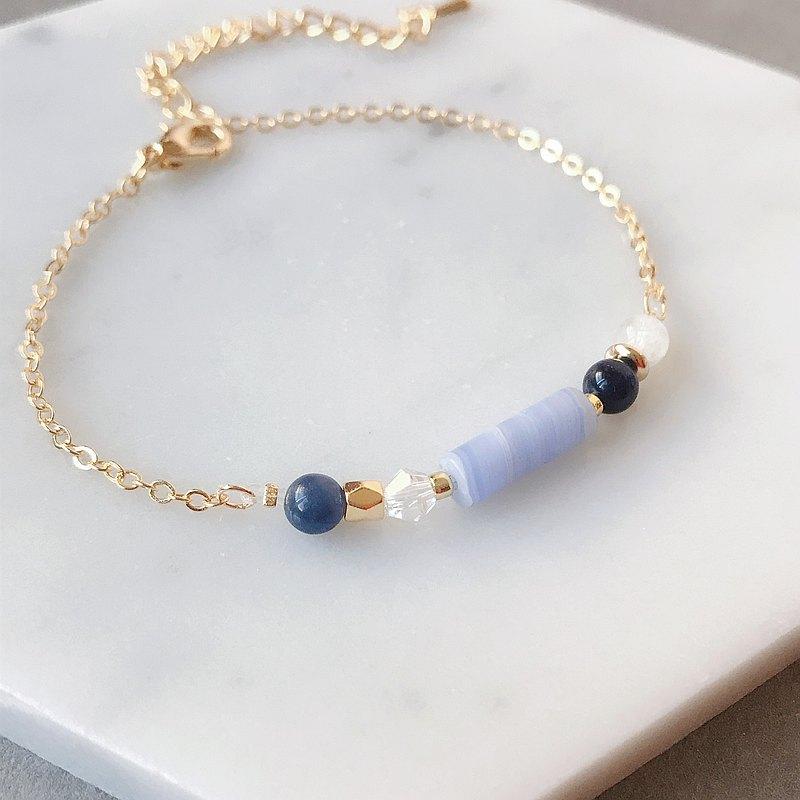 淡淡粉藍圓柱 藍紋石 月光石 天然石 鍍金手鍊 好朋友 生日禮物